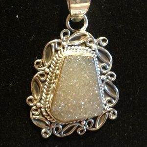 Platinum Druzy Quartz 925 Silver SET Necklace Pend
